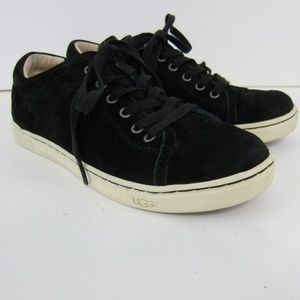 Ugg Sneakers Tennis Shoes 7.5 Black Lace Up Suede
